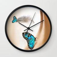 the shining Wall Clocks featuring Shining Life by Nadine May