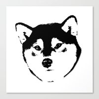 shiba inu Canvas Prints featuring Shiba Inu by MIX INX