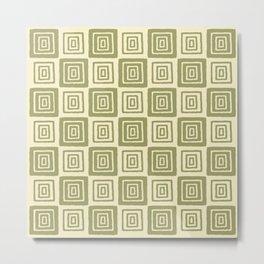 Mid Century Modern Geometric Checker 821 Olive Green Metal Print