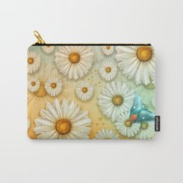 """""""Turquoise Moth &  Marguerites"""" Carry-All Pouch"""