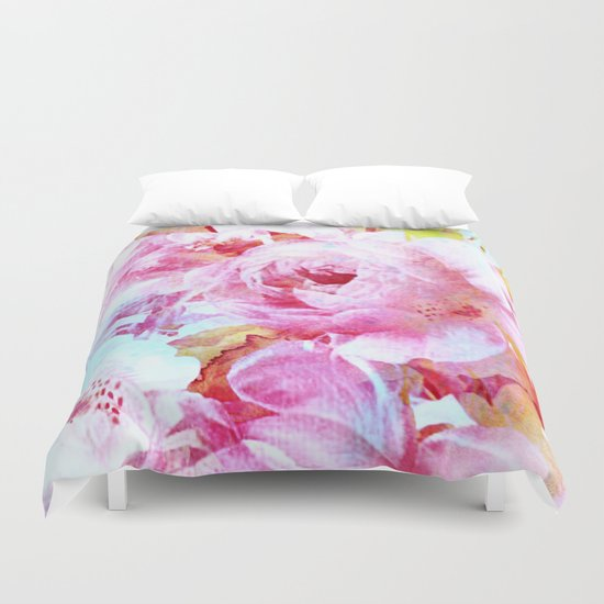 floral with turquoise spatter Duvet Cover