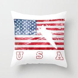 USA Rowing Flag of America Throw Pillow