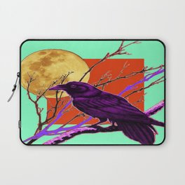 Surreal Purple-green  Mystic Moon Crow/Raven Moon Abstract Laptop Sleeve