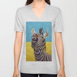 Smiling Zebra 02 Unisex V-Neck