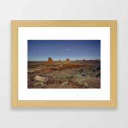 Moonlight over Monument valley  Framed Art Print