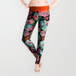 Whimsical Hexagon Garden on black Leggings