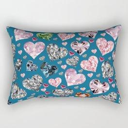 Heart Diamonds are Forever Love Blue Rectangular Pillow