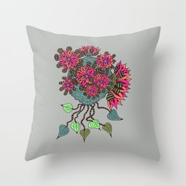Alien Pink Buds Throw Pillow