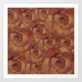 Old Paper Roses Pattern Art Print