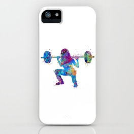 Squat Girl Art Fitness Gift Colorful Blue Purple Watercolor Artwork Gym Art iPhone Case