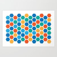 hexagon Art Prints featuring Hexagon by Danielle Arrington