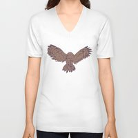 hunting V-neck T-shirts featuring Hunting Owl  by Ben Bauchau