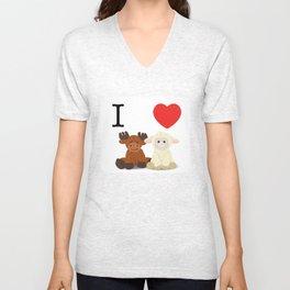 I <3 Moose Lambs Unisex V-Neck