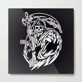 Hand Inked Grim Reaper Illustration Metal Print