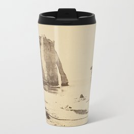 Beach at Etretat Vintage Photograph - France Travel Mug