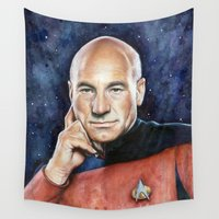 captain silva Wall Tapestries featuring Captain Picard by Olechka