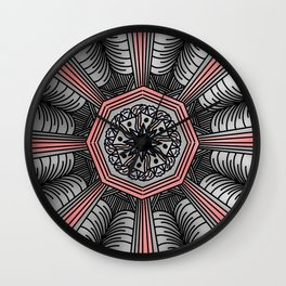 Abstract Artwork 9 coral colour - doodling style Wall Clock