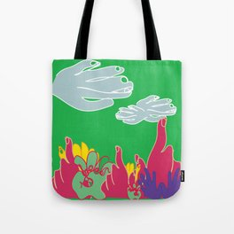 my hands as a field of flowers Tote Bag