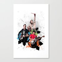 blink 182 Canvas Prints featuring Blink-182 - Tom Delonge, Mark Hoppus, Travis Barker by amy.
