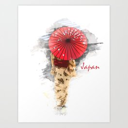Japanese woman wearing a kimono and holding an umbrella Art Print