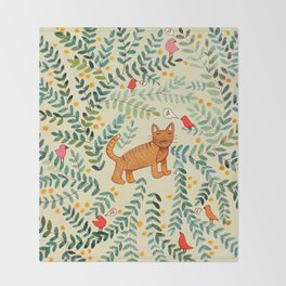 minou jaune (this yellow cat) Throw Blanket
