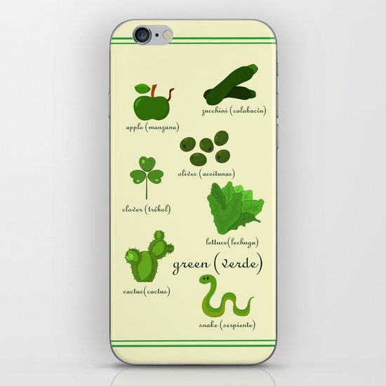 Colors: green (Los colores: verde) iPhone & iPod Skin