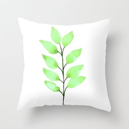 Spring Leaves Watercolor Throw Pillow