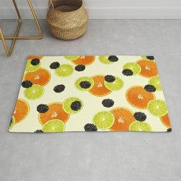 Orange Lemon Blackberry pattern - yellow Rug