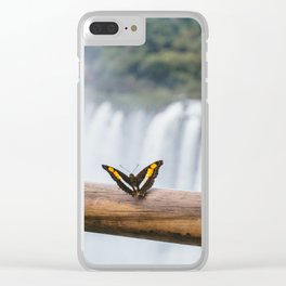 Butterfly over Iguazu Falls, Argentina Clear iPhone Case