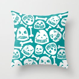 Skulls Pattern 1 (Teal) Throw Pillow