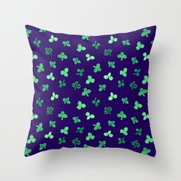 Clover Leaves Pattern on Purple Throw Pillow