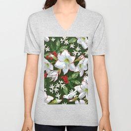 Christmas Amaryllis + Holly Pattern Unisex V-Neck
