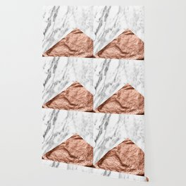 Marble & rose gold foil geometric design Wallpaper