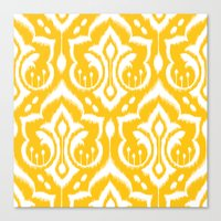 damask Canvas Prints featuring Ikat Damask by Patty Sloniger