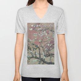 Almond Blossom - Vincent Van Gogh (pink pastel and cream) Unisex V-Neck