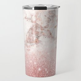 Elegant Faux Rose Gold Glitter White Marble Ombre Travel Mug