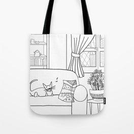 Cat and flies and sofa. Tote Bag