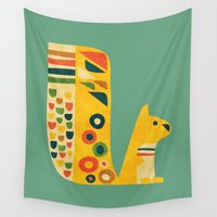 squirrel Wall Tapestries featuring Century Squirrel by Picomodi