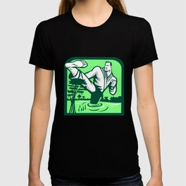 Martial Arts Fighter Kicking Cypress Tree Retro T-shirt