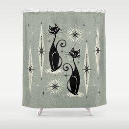Mid Century Meow Retro Atomic Cats - Gray Shower Curtain