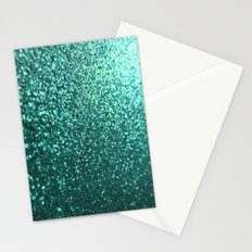 Teal Aqua Glitter Sparkle Stationery Cards