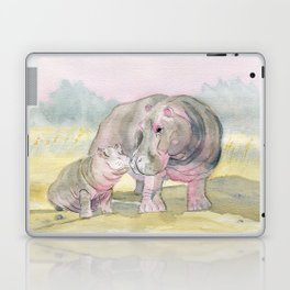 Colorful Mom and Baby Hippo Laptop & iPad Skin