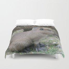adorable capybara baby Duvet Cover
