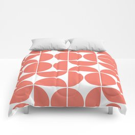 Mid Century Modern Geometric 04 Living Coral Comforters