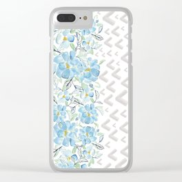 Gray arrows and blue flowers Clear iPhone Case