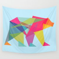 neon Wall Tapestries featuring Fractal Bear - neon colorways by Picomodi