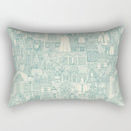vintage halloween teal ivory Rectangular Pillow