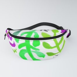 Matisse Inspired Watercolor Pattern (Shades of Green, Purple, Gray) Fanny Pack