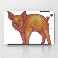 piglet iPad Cases featuring Patterned Piglet by Emilie Darlington