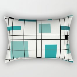 1950's Abstract Art Teal Rectangular Pillow